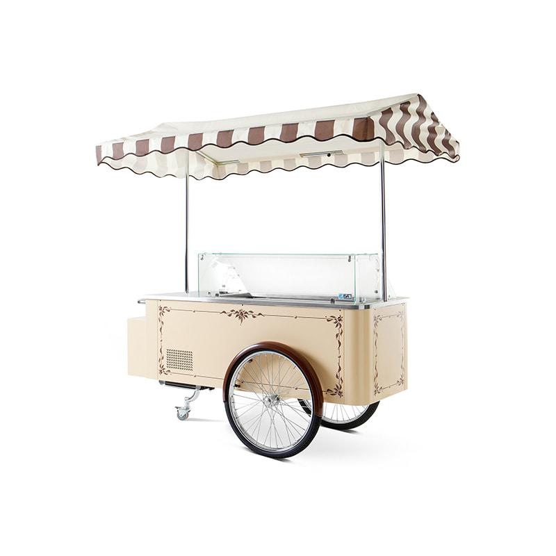 Foto de una vitrina refrigerada carrito de helados clásico.