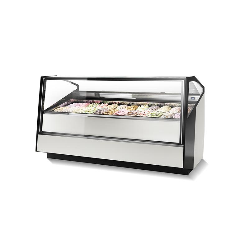 Fotografía de una vitrina refrigerada Stratos con helados en exhibición.
