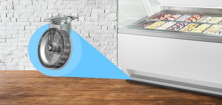 vitrinas exhibidoras de helados con ruedas