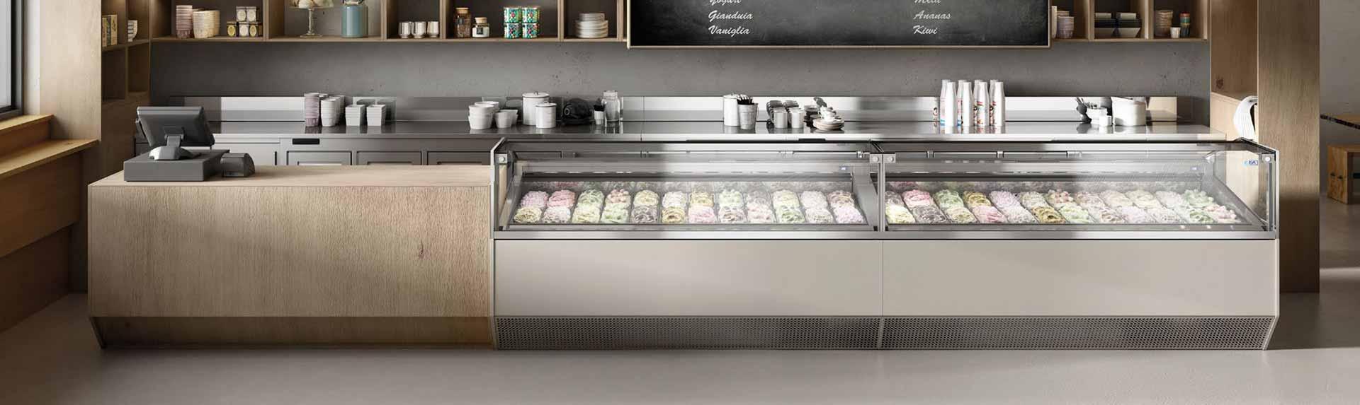 vitrina exhibidora de helados