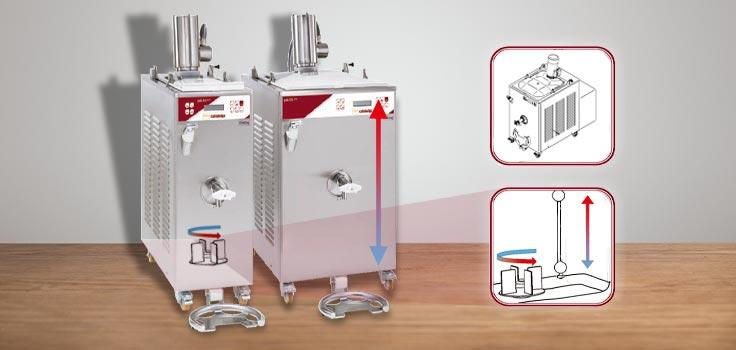 Dos pasteurizadores para mezclas de helado de diferente capacidad con dibujo representando intercambio de temperatura