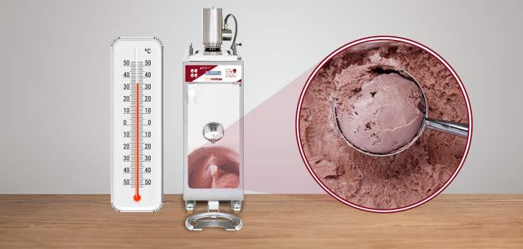 Termómetro pasteurizadora para helados y helado de chocolate representando sistema de calor