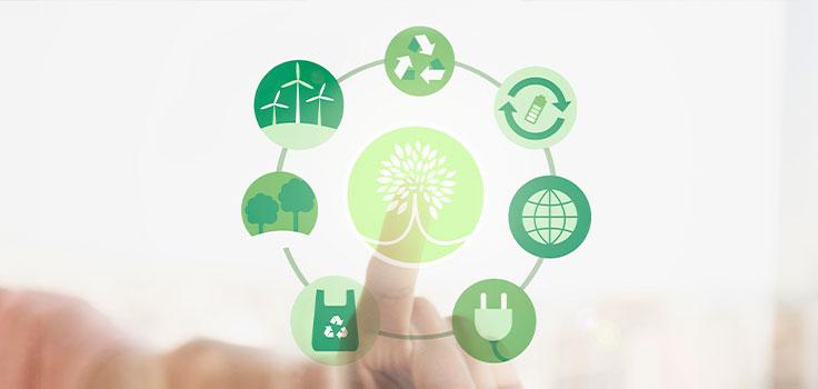 Símbolos de energías limpias reciclaje representando ahorro de energía