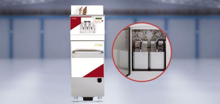 Maquina de helados suave modelo de pie con imagen de los contenedores para almacenar el helado