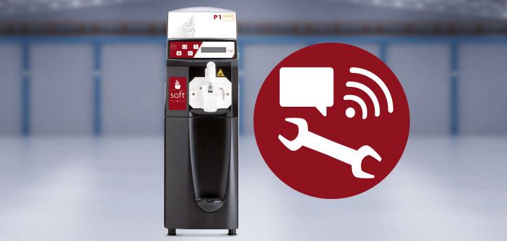 Maquina de helado suave modelo de pie con símbolos de conectividad