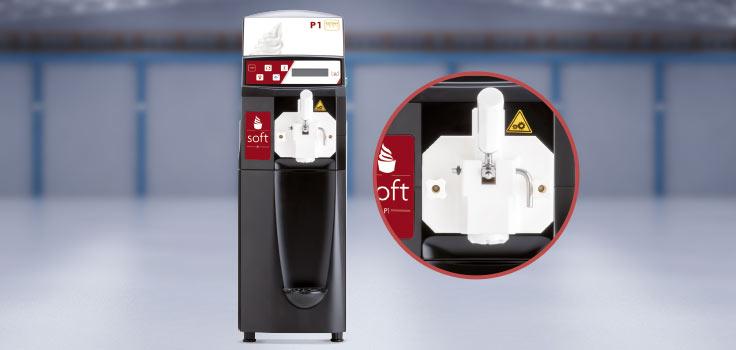 Máquina de helado suave modelo de pie e imagen de los grifos